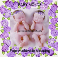 Polymer clay doll  molds, doll mold, fimo doll, sculpey babies. Free shipping